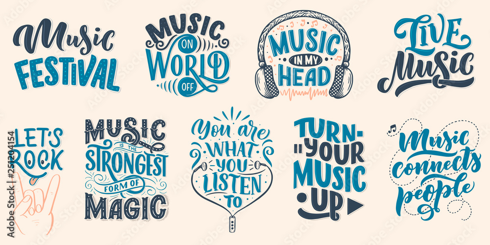 Set with inspirational quotes about music Canvas Print
