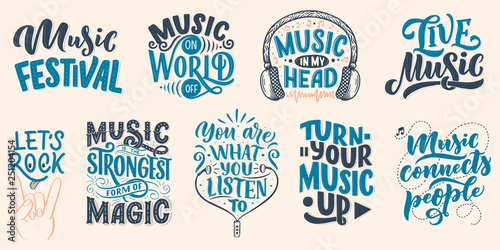 Photo  Set with inspirational quotes about music