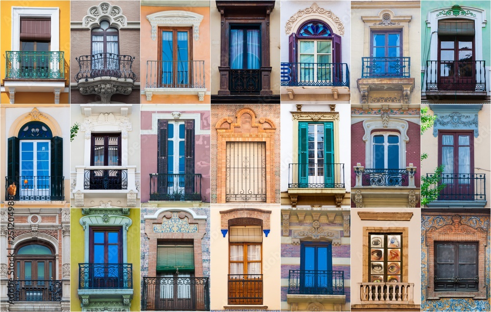 Fototapety, obrazy: mosaic collage of multiple different windows in southern spain