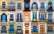 mosaic collage of multiple different windows in southern spain