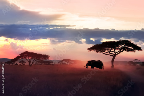 Wild African elephant in the savannah. Serengeti National Park. Wildlife of Tanzania. African art image. Free copy space.