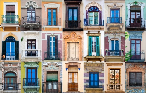Fotografiet  mosaic collage of multiple different windows in southern spain