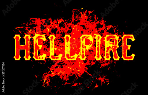 Fotografie, Tablou  hellfire word text logo fire flames design with a grunge or grungy texture