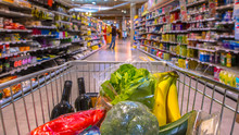 Grocery Cart In Supermarket Pano
