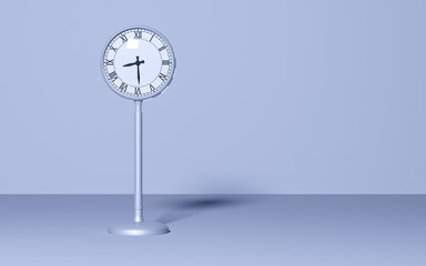Street clock on pastel background. Time wait concept. Minimal style. Copy space. 3D rendering illustration