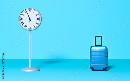Poster Asia Country Street clock and travel baggage on pastel background. Time business wait concept. Trip, late, meeting. Minimal style. Copy space. Holiday, rest, recreation, relaxation. 3D rendering illustration