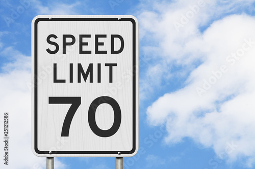 Fotografía  US 70 mph Speed Limit sign