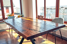 Interior Of Modern House, Dining Room With Wooden Table