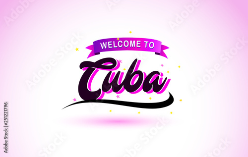 Cuba Welcome to Creative Text Handwritten Font with Purple Pink Colors Design Canvas Print
