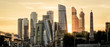 canvas print picture - Panorama of Moscow with skyscrapers of Moscow-City at sunset, Russia