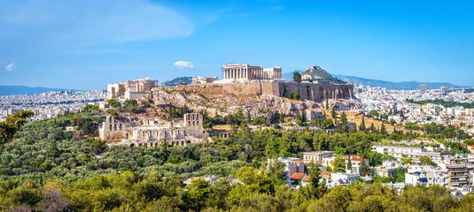 Panorama Atene s brdom Acropolis, Grčka