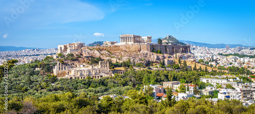 In de dag Athene Panorama of Athens with Acropolis hill, Greece