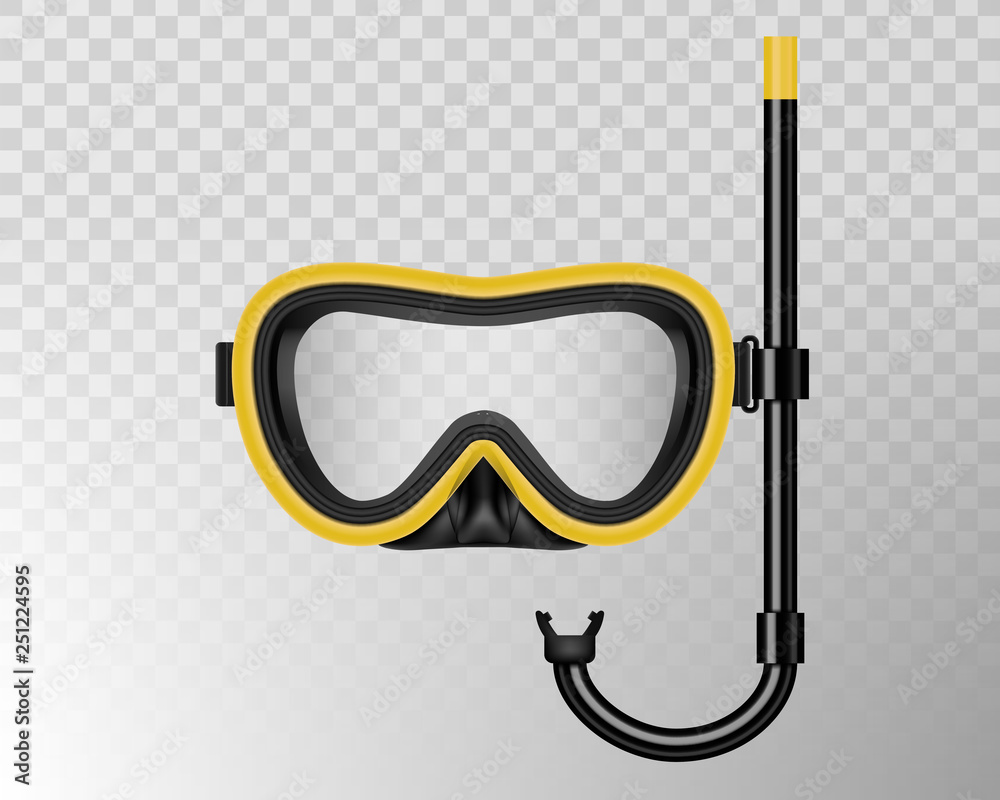 Fototapeta Creative vector illustration of scuba diving, swimming mask with snorkel, goggles, flippers isolated on transparent background. Art design realistic snorkeling diver equipment for summer holidays