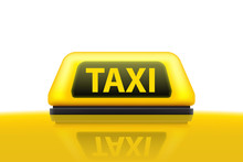 Creative Vector Illustration Of Yellow Taxi Service Car Roof Sign On The Street At Night Blurred Lighting Background. Art Design Template. Abstract Concept Graphic Bokeh Element