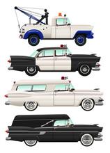 Vector Illustrations Of Retro 1950s Emergency Vehicles