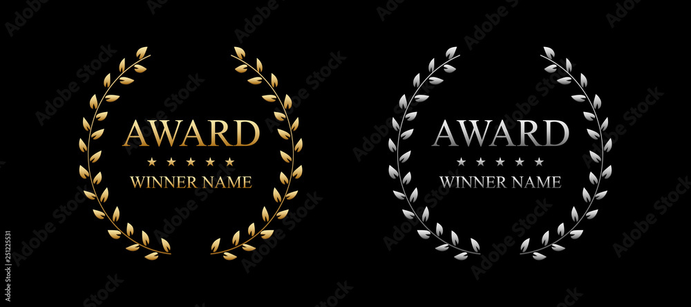 Fototapeta Creative vector illustration of the best award label with golden laurel wreath isolated on transparent background. Art design premium quality choice template. Abstract concept graphic victory element