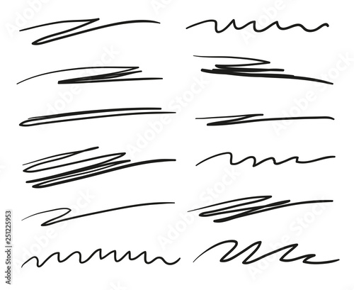 Fototapeta Hand drawn underlines on white. Abstract backgrounds with array of lines. Stroke chaotic patterns. Black and white illustration. Sketchy elements for posters and flyers obraz na płótnie