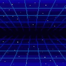 Vector Pixel Art Of 80s Retro Sci-Fi Background. Pixel Art Background. 8bit