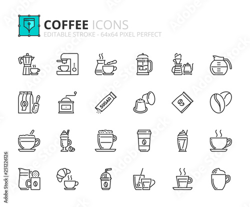 Valokuva Outline icons about coffee