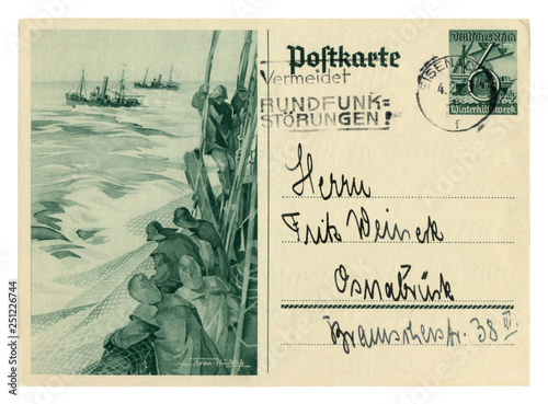 German historical postal card: Winter Relief Series Ships, Fishermen on a tr Canvas-taulu