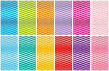 Set Of Small Polka Dots Seamless Pattern On Bright Colorful Backgrounds, Vector