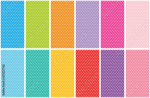 Fényképezés  Set of small polka dots seamless pattern on bright colorful backgrounds, vector