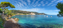 Wide Panorama Over Saint-Jean-Cap-Ferrat Beach, On The Azur French Coast Of Nice In Summertime