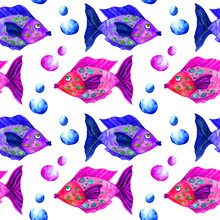 Sea Life Watercolor Seamless Pattern