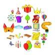 Amusement park icons set. Cartoon set of 25 amusement park icons for web isolated on white background