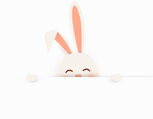Happy Easter. Easter Rabbit Bunny Standing Behind A Blank Sign, Showing On Big Blank Sign. Cute, Funny Cartoon Rabbit Character With White Copy Space. Vector Illustration.