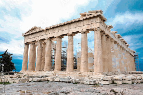 Spoed Foto op Canvas Oost Europa Athens, Greece - February 23, 2019: Eastern facade of the Parthenon temple on the Acropolis of Athens, Greece.