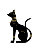 Black Egyptian Cat Statue. Bastet, Ancient Egypt Goddess, Sculpture Profile With Pharaonic Gold Jewelry And Precious Stones, Vector Illustration Isolated Or White Background