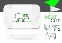Mockup Template Polystyrene Tray Container. Vector Illustration On White Background. Ready For Your Design. EPS10.