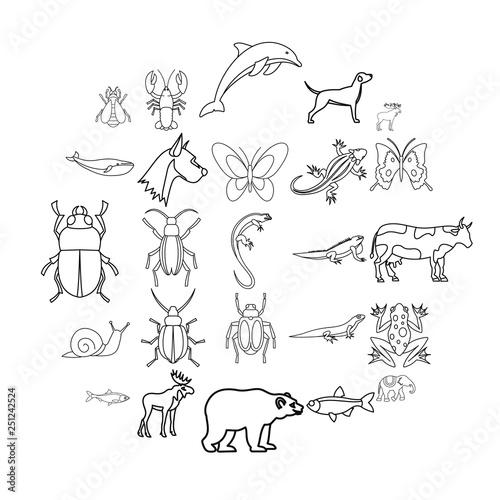 Artiodactyls icons set Canvas Print