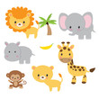 Jungle animals vector illustration clip art