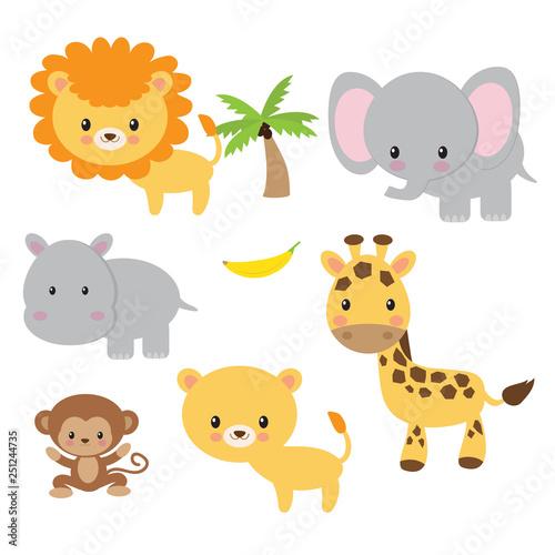 Jungle animals vector illustration clip art #251244735