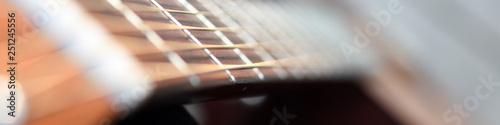 Griffbrett und Hals eines Hübschen Holz Gitarren Musikinstruments für Rockmusik Canvas Print