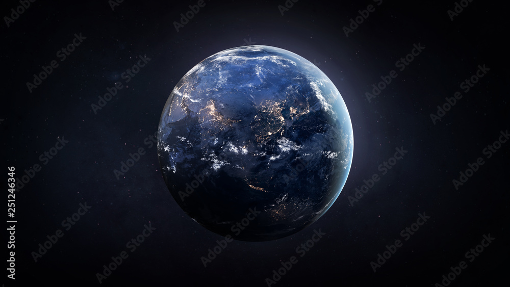 Fototapety, obrazy: Nightly Earth globe in the outer space. City lights on planet. Civilization. Elements of this image furnished by NASA