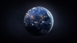 Nightly Earth globe in the outer space. City lights on planet. Civilization. Elements of this image furnished by NASA