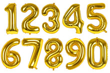 Set Of Golden Balloons Of Numbers On Isolated White Background