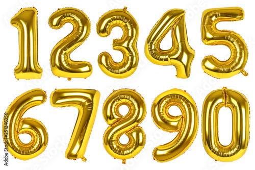Cuadros en Lienzo  Set of golden balloons of numbers on isolated white background