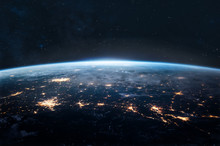 Planet Earth In The Night. Space At The Horizon. Elements Of This Image Furnished By NASA