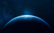 Blue Planet Earth. Stars And Galaxies. Elements Of This Image Furnished By NASA