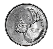 Canadian 25 Cent Coin Depicting An Elk