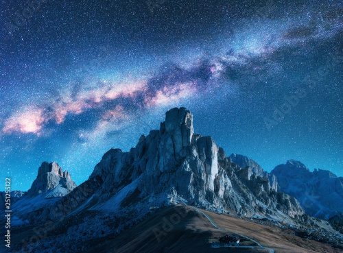 Photo  Milky Way above mountains at night in summer