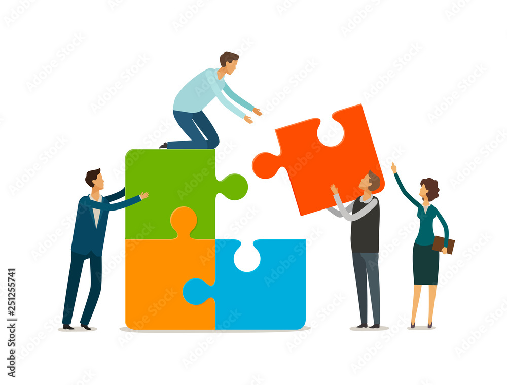 Fototapeta Teamwork concept. Business people with puzzle pieces working together. Infographics vector illustration