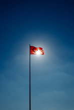 Turkish Flag Waving At Sky Wit...