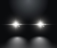 Cars Light Effect. White Glow Car Headlight Bright Beams Ray Isolated On Black Background