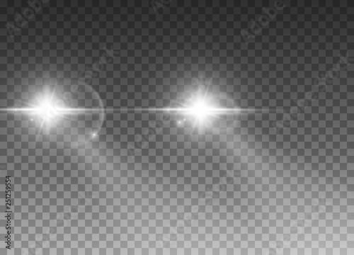 Obraz Cars light effect. White glow car headlight bright beams ray isolated on transparent background - fototapety do salonu