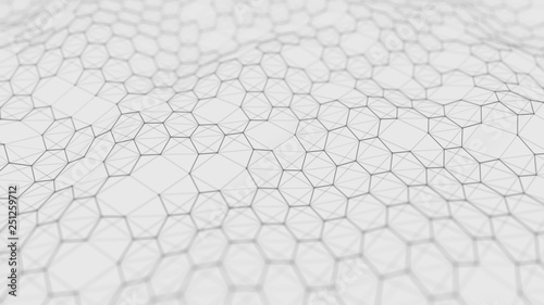 Fototapety, obrazy: Futuristic white hexagon background. Futuristic honeycomb concept. Wave of particles. 3D rendering. Data technology background